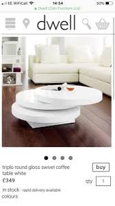 dwell triplo round swivel coffee table in white gloss lacquer as of new condition