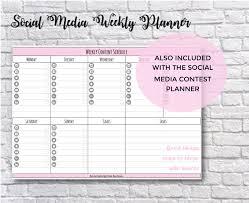 Social Media Contest Planner Printable Worksheet Social