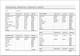 examples of personal budgets personal monthly budget resumess zigy co