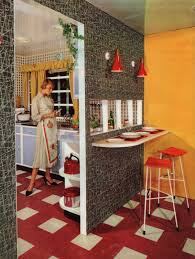 1950s interior design. 1950s Interior - Kitchen/breakfast Bar Atomic Feature Wall Design ,