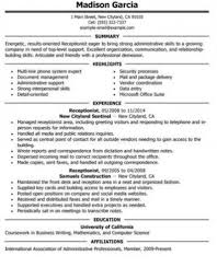Receptionist Resume And Skills Guide