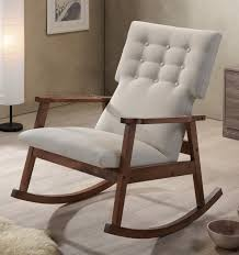 Midcentury Modern Fabric Upholstered Button-Tufted Rocking Chair ...