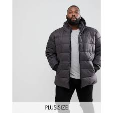 river island river island plus puffer jacket in dark grey grey lined with internal pockets functional