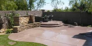 Impressive Concrete Patio Designs With Fire Pit Colored Quality Living Landscape San Marcos Ca Throughout Modern Ideas