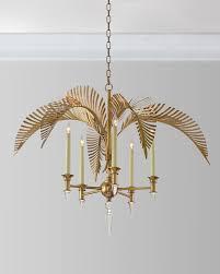palm frond 5 light chandelier