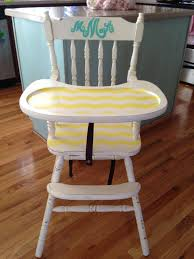 hand painted antique high chairchevron and a monogram love antique high chairs wooden