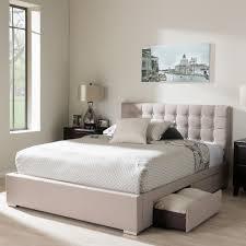 beige upholstered headboard. Delighful Upholstered Baxton Studio Rene Beige Queen Upholstered Bed Intended Headboard A