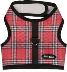 Red Plaid Dog Harness Wrap N Go Mesh 2 Strap Closure Choke