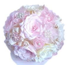 Paper Ribbon Flower Pink Brooch Bouquet Pearl Brooch Bouquet Ivory Bridal Bouquet
