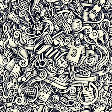 Graphic Sport Hand Drawn Artistic Doodles Seamless Pattern Royalty