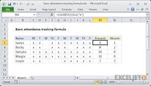 attendance spreadsheet excel excel formula basic attendance tracking formula exceljet