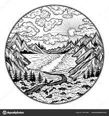 пейзаж с озером дорога лес и горы векторное изображение