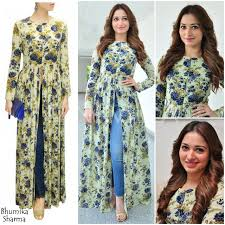 Kurta Designs To Wear With Jeans Pair Skinny Jeans With This Printed Open Long Kurti