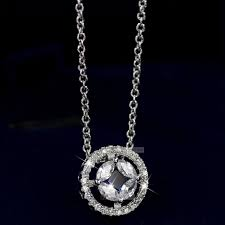 18k white gf made with swarovski crystal pendant wedding party lady necklace
