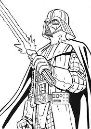 The Terrifying Darth Vader With Light Saber In Star Wars Coloring