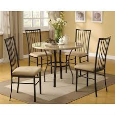 new modern 5 piece dining set marble round table 4 chairs home kitchen quaint