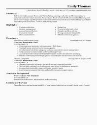 Accounts Receivable Clerk Resume Examples Doc Accounting Bookkeeping
