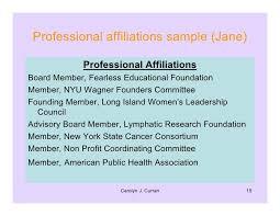 resume affiliations
