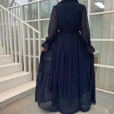 PomPoms Long Dress Abaya Muslim <b>Women Summer Sheer</b> Long ...