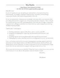 Cover Letter For Executive Assistant Position Sample Cover Letter