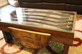 ... Coffee Table, Popular Brown Rectangle Unique Wood Whiskey Barrel Coffee  Table With Storage And Glass ...