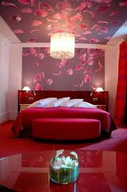 Red Wallpaper For Bedroom Sexy Bedroom Ideas With Floral Wallpaper And Drum Chandelier And