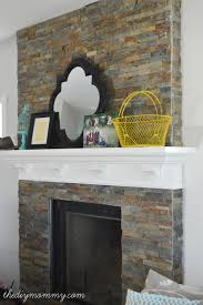Diy Mantels For Fireplaces Our Diy Fireplace Installing The Slate Splite Face Tile The