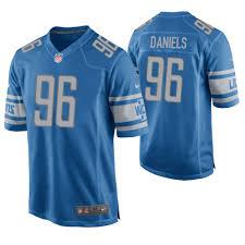 Daniels Lions Detroit 96 Blue Game Mike Jersey