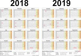 Two Year Calendars For 2018 2019 Uk For Word
