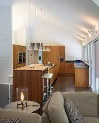 sloped ceiling lighting. Kansas City Sloped Ceiling Lighting Kitchen Modern With Split Level Island Metal Bar Stools And Counter Dark Floor P