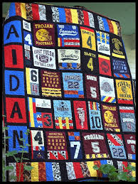 56 best Custom T-shirt Quilt Ideas images on Pinterest | Memory ... & T-shirt / Sports Jersey Quilt Adamdwight.com