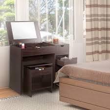 furniture of america laurel multi storage vanity table with mirror and stool set arrange bedroom furniture