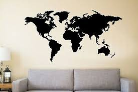 Large Metal World Map Continents Metal Wall Art Office Living Room Decoration Ebay
