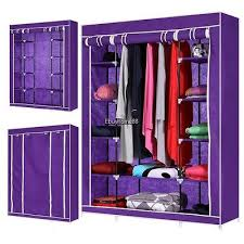 wardrobe armoire closet fabric storage clothes bedroom organizer rack shelves 12