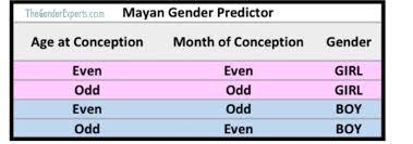 Chinese Calendar Mayan Gender Prediction December 2018