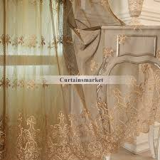 brown embroidered sheer curtains for european bedroom