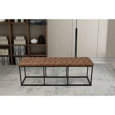 meadow lane large decorative bench with on tufting light brown faux leather