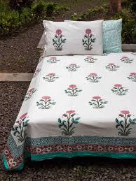 indian marigold block print cotton double bed sheet set