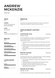 Resume For Bartender Cool Bartending Resume For Bartender Example Fantastic Templates