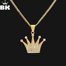 <b>Hip Hop King Crown</b> Pendant Necklace Stainless Steel Gold Color ...