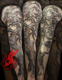 Realistic Oak Tree Creepy 3d Names Kids Family Sleeve Tattoo By