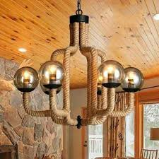 glass and rope chandelier light