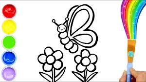 Georgeus Coloring Page Butterfly And Flowers For Kids Drawing