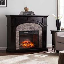 granby 45 75 in w infrared electric fireplace in ebony with gray stone