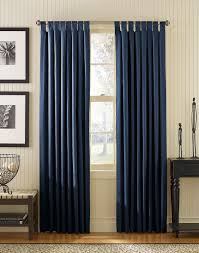 ... Interior Design, Interior Long Blue Curtains For Glass Windows Placed  On The White Wall Plus ...