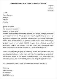 Resume Business Letter Acknowledgement Letter Sample For Receipt Of