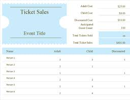 Ticket Sales Spreadsheet Template Ticket Sales Tracker