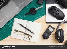Graphic Designer Stuff Top View Office Stuff Gadgets Wooden Desk Graphic Designer