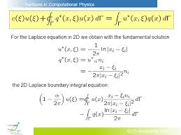 for the laplace equation in 2d we obtain with the fundamental solution