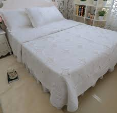 brandream luxury white embroidery bedding set king size bed quilt set review